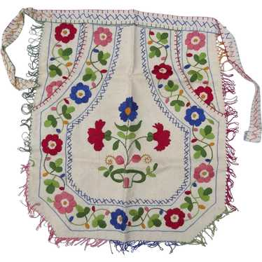 Vintage Hand Embroidered Small Apron Hungarian Fo… - image 1