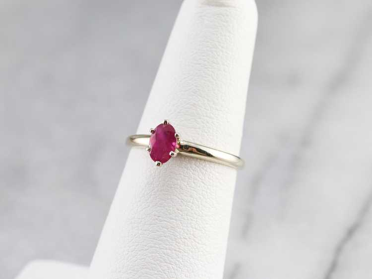 White Gold Ruby Solitaire Ring - image 7