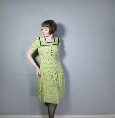 30s 40s LIME GREEN AND BLACK POLKA DOT TEA DRESS … - image 1
