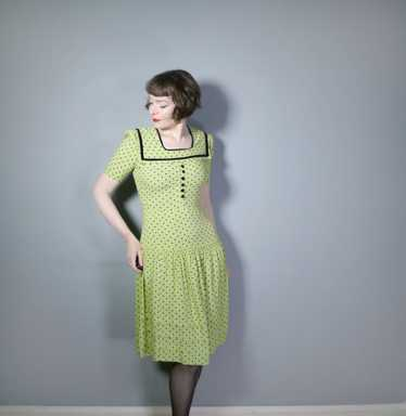 30s 40s LIME GREEN AND BLACK POLKA DOT TEA DRESS W