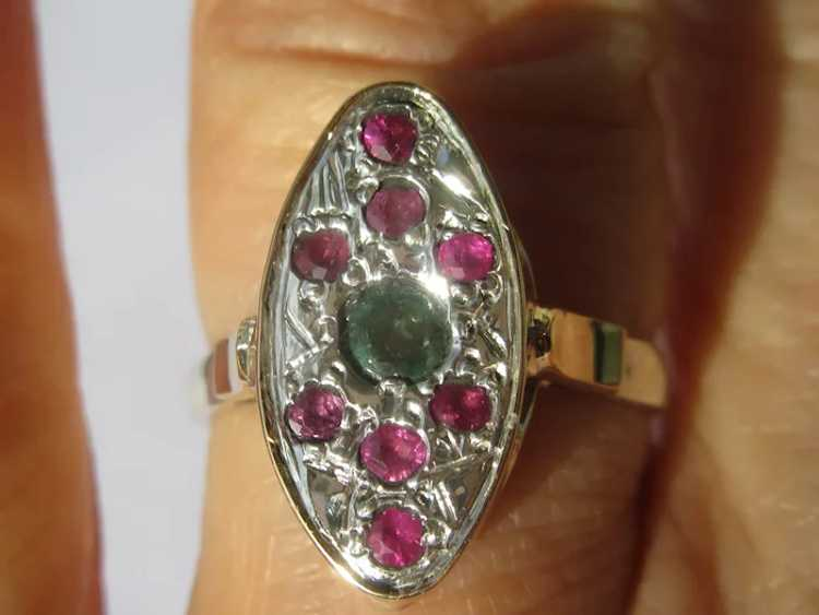 Emerald and Ruby Sterling Silver Ring - image 5