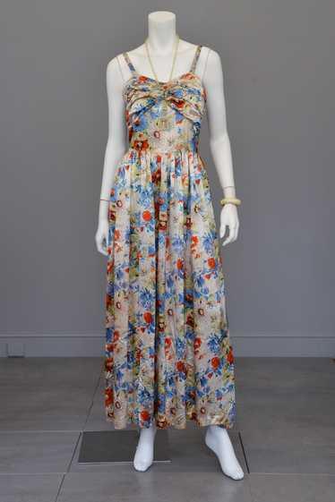 Vintage 30s Floral Satin Gathered Bust Evening Gow
