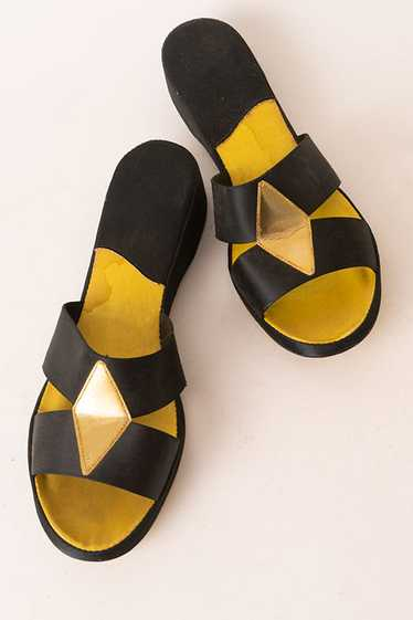 Sexy Black and Gold Boudoir Slippers