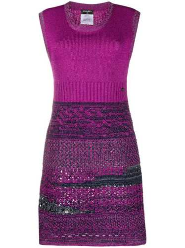 Chanel Pre-Owned jacquard knit fitted dress - PINK