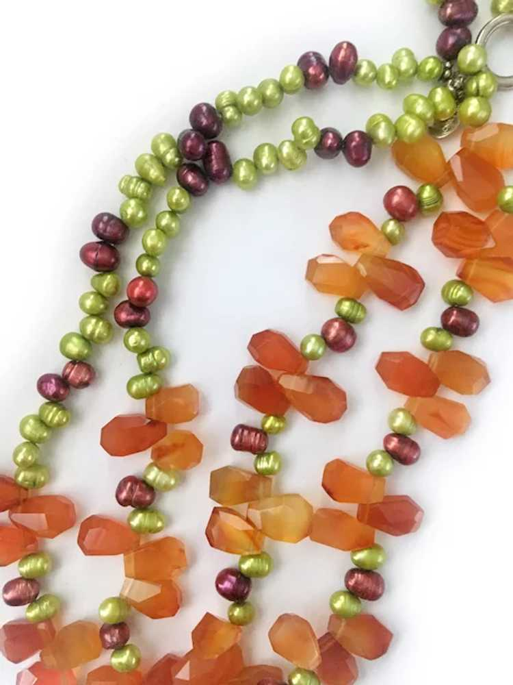 Colorful Freshwater Pearls, Carnelian and Sterlin… - image 5