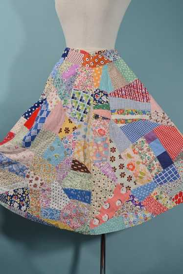 Vintage 60s Patchwork Skirt, 30s Feed Sack Quit Sk