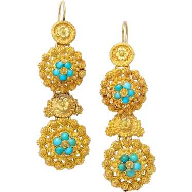 Antique Early Victorian Turquoise and Gold Chandel