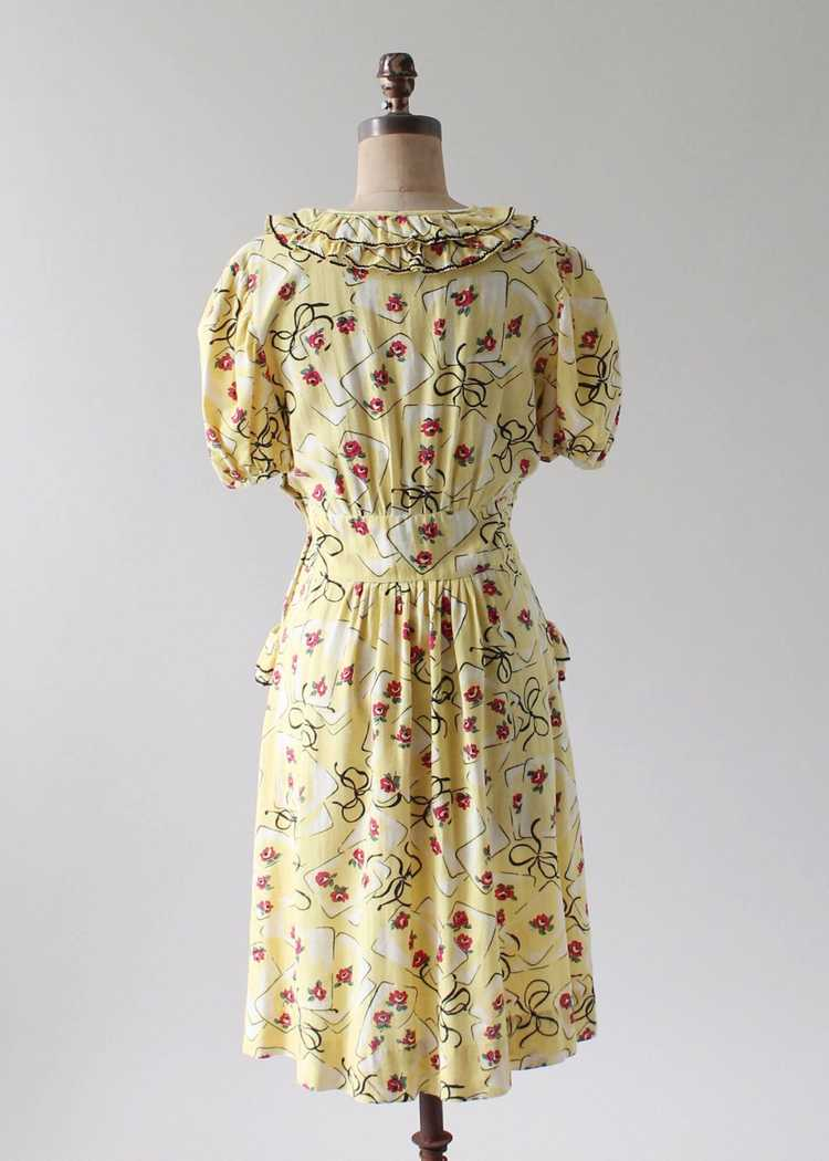 Vintage 1930s Yellow Novelty Print Cotton Dress - image 8