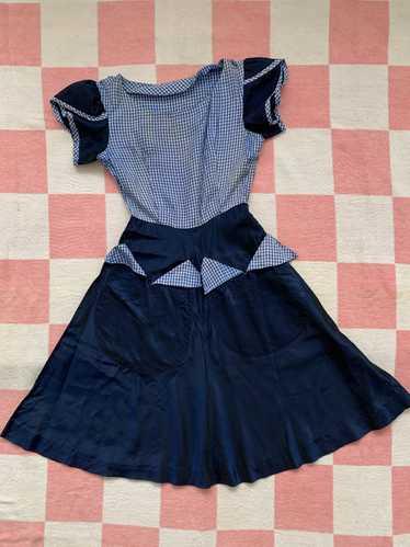 1940s Gingham Taffeta Dress