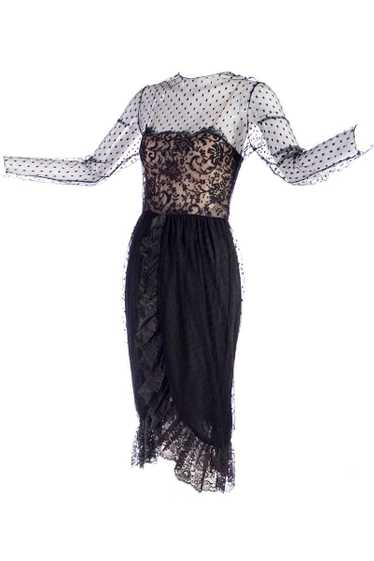 1970s Vintage Bill Blass Black Net & Lace Cocktail