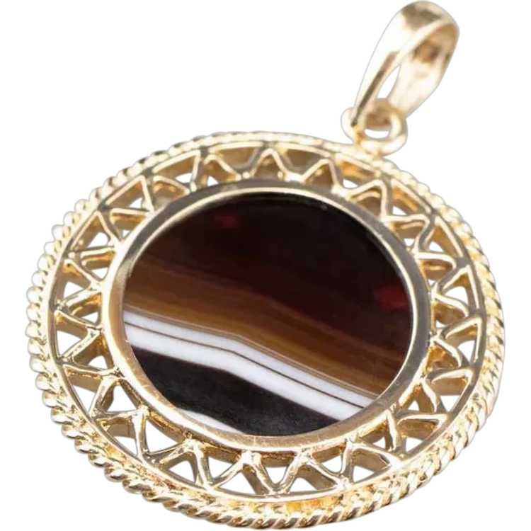 Mid Century Banded Agate Pendant - image 1
