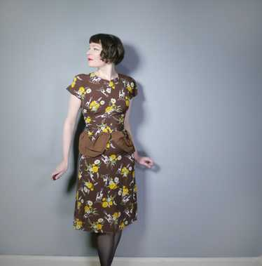 40s NOVELTY DEER AND FLOWER PRINT BROWN RAYON DRE… - image 1