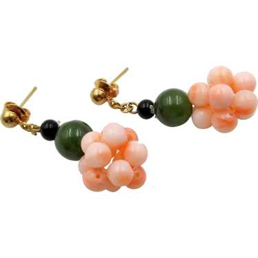 Vintage Coral, Jade and Onyx Bead Cluster Pierced