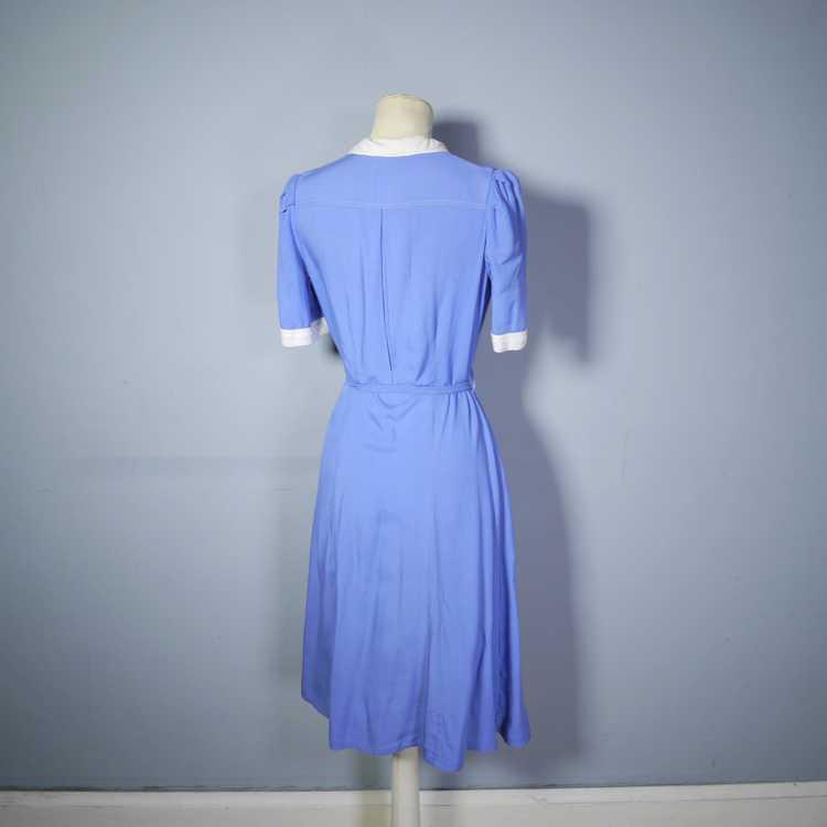 40s NURSE / ALICE style BLUE WHITE COLLARED SHIRT… - image 9