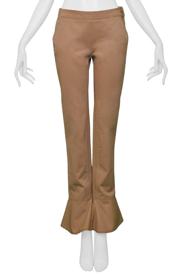 CHANEL KHAKI FLARED COTTON PANTS - image 4