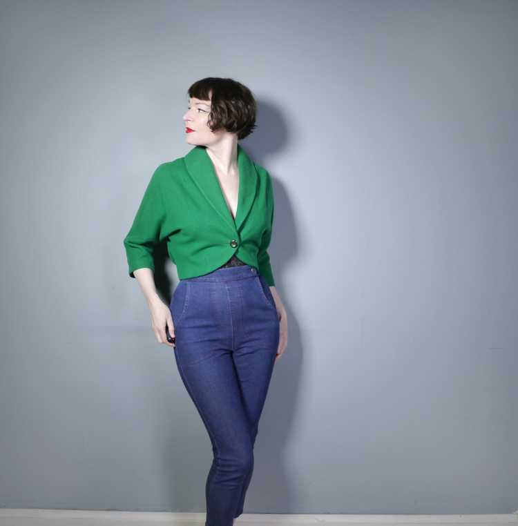 50s GREEN WOOL CROPPED BOLERO JACKET - M-L - image 2