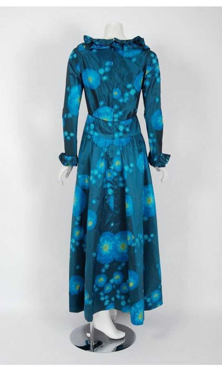 1966 Arnold Scaasi Couture Watercolor Blue Floral… - image 6