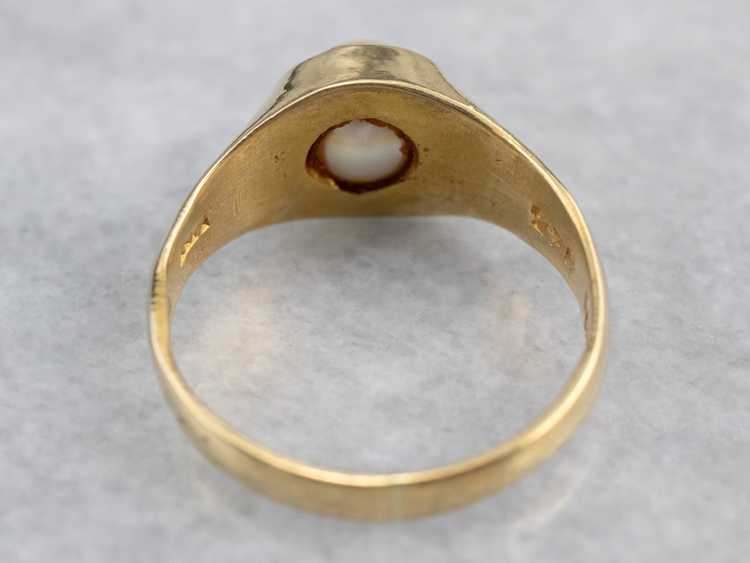 Bezel Set Pearl Gold Solitaire Ring - image 5