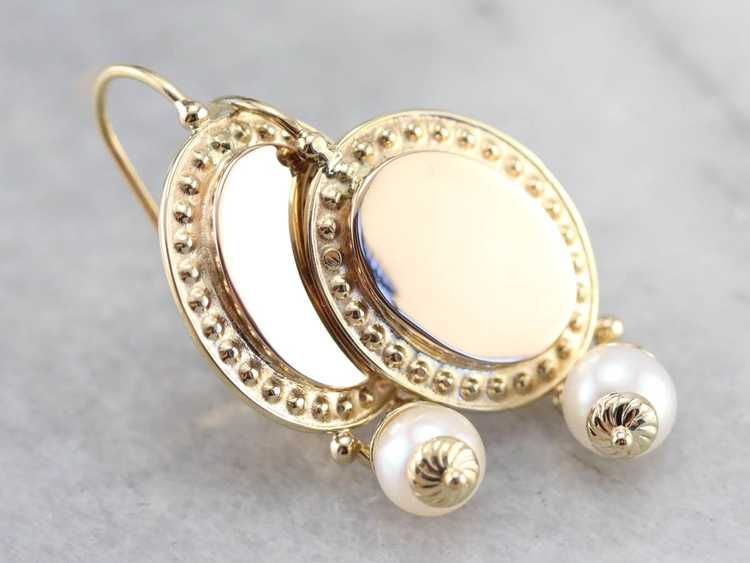 Vintage Yellow Gold and Pearl Drop Earrings - image 1