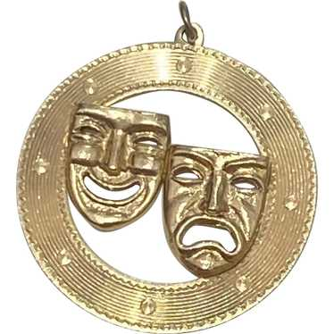 Large Theatrical Mask Vintage Charm 14K Gold, Come