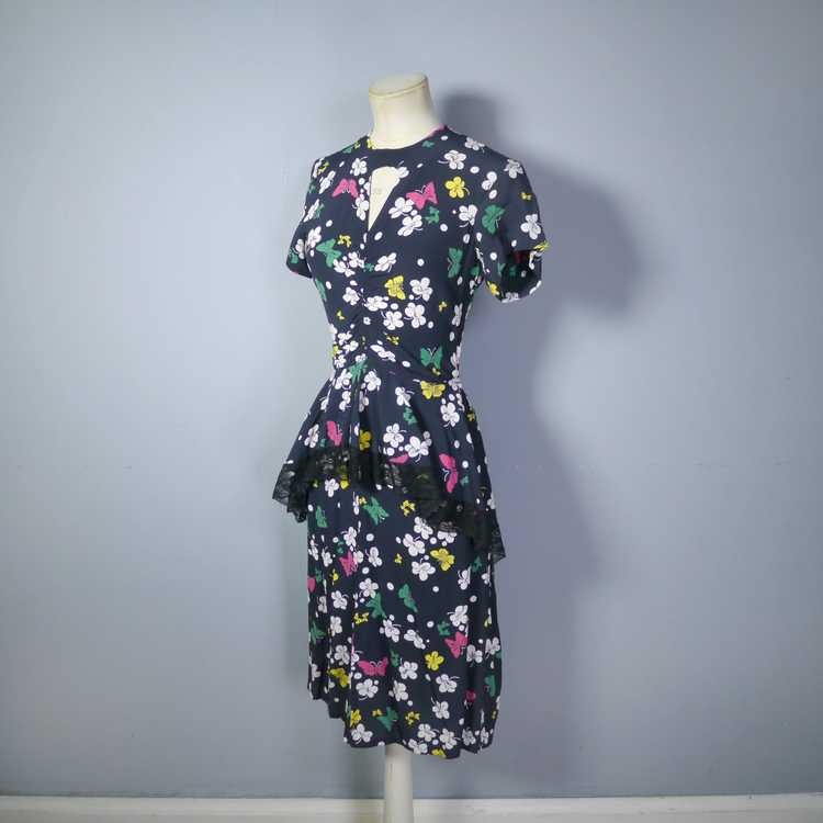 40s BUTTERFLY PRINT RAYON DRESS WITH PEPLUM AND K… - image 10