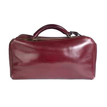 Burgundy Leather Short Travel Bag