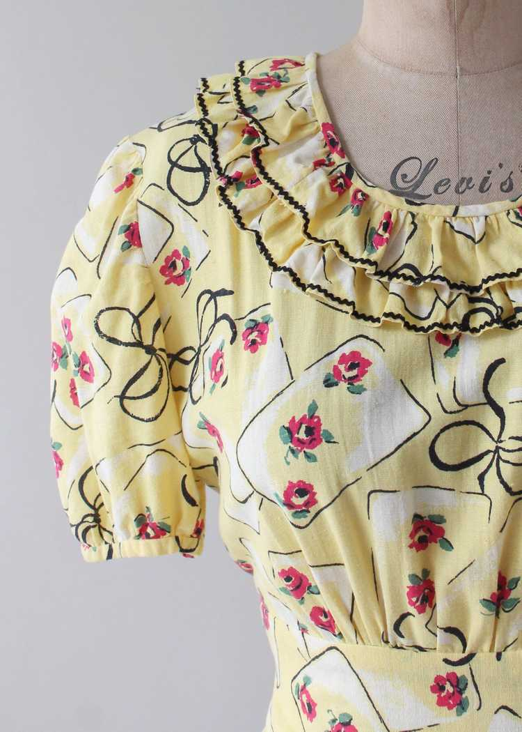 Vintage 1930s Yellow Novelty Print Cotton Dress - image 4