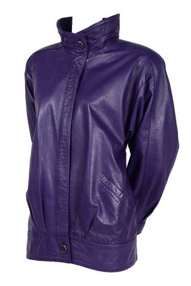 1980's Oversized Purple Leather Jacket with High C