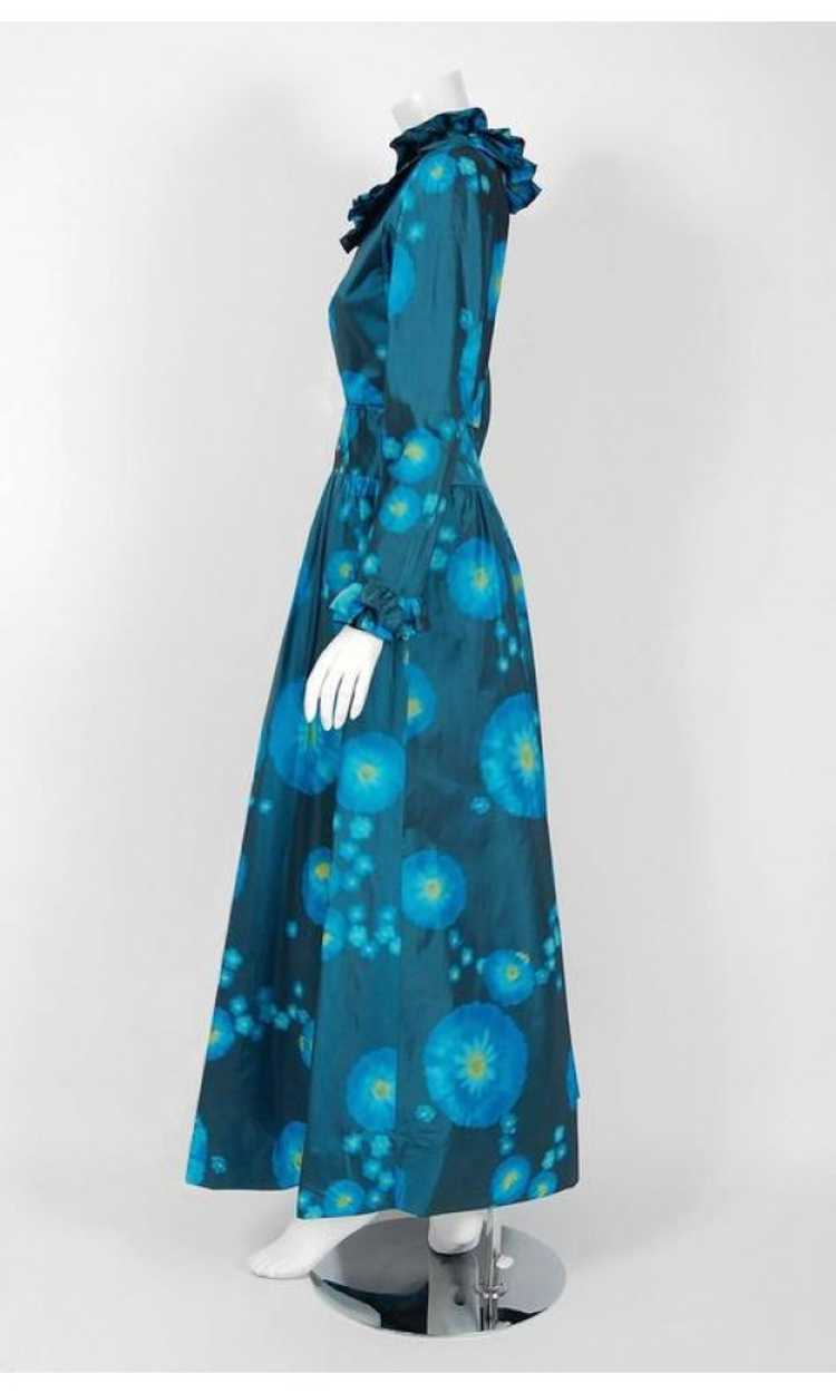 1966 Arnold Scaasi Couture Watercolor Blue Floral… - image 5