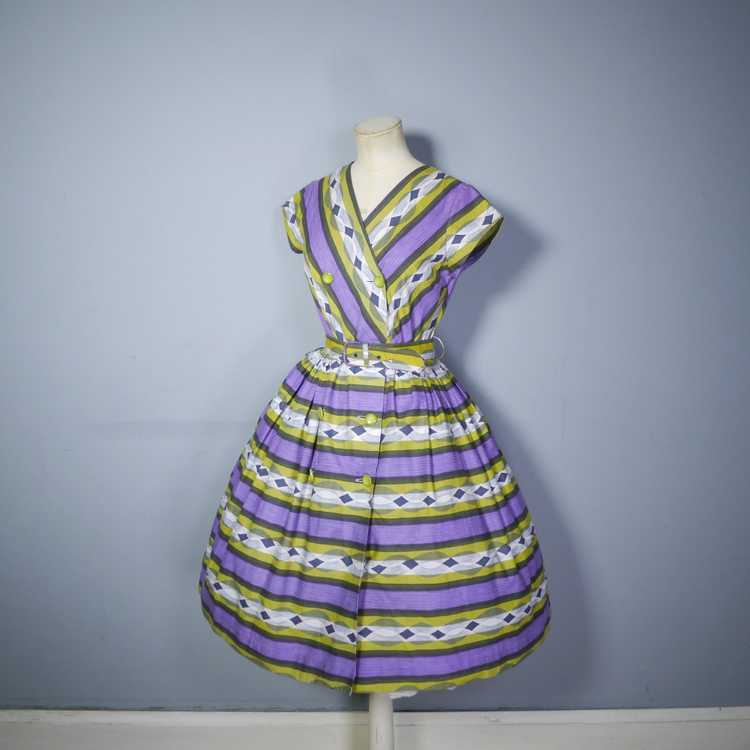 50s MID CENTURY PRINT PURPLE AND LIME STRIPED DOU… - image 8