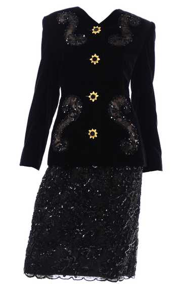 Deadstock Givenchy Couture Black Lace Velvet and S