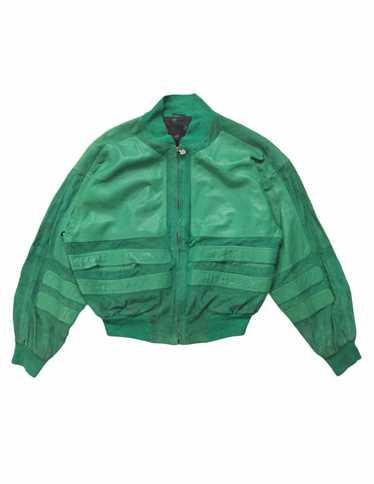 Vintage 90s ANDRE VALENTINO White Jacket Zipper Up Big Logo Embroidered Bombers Jacket Fashion Designer Size Large