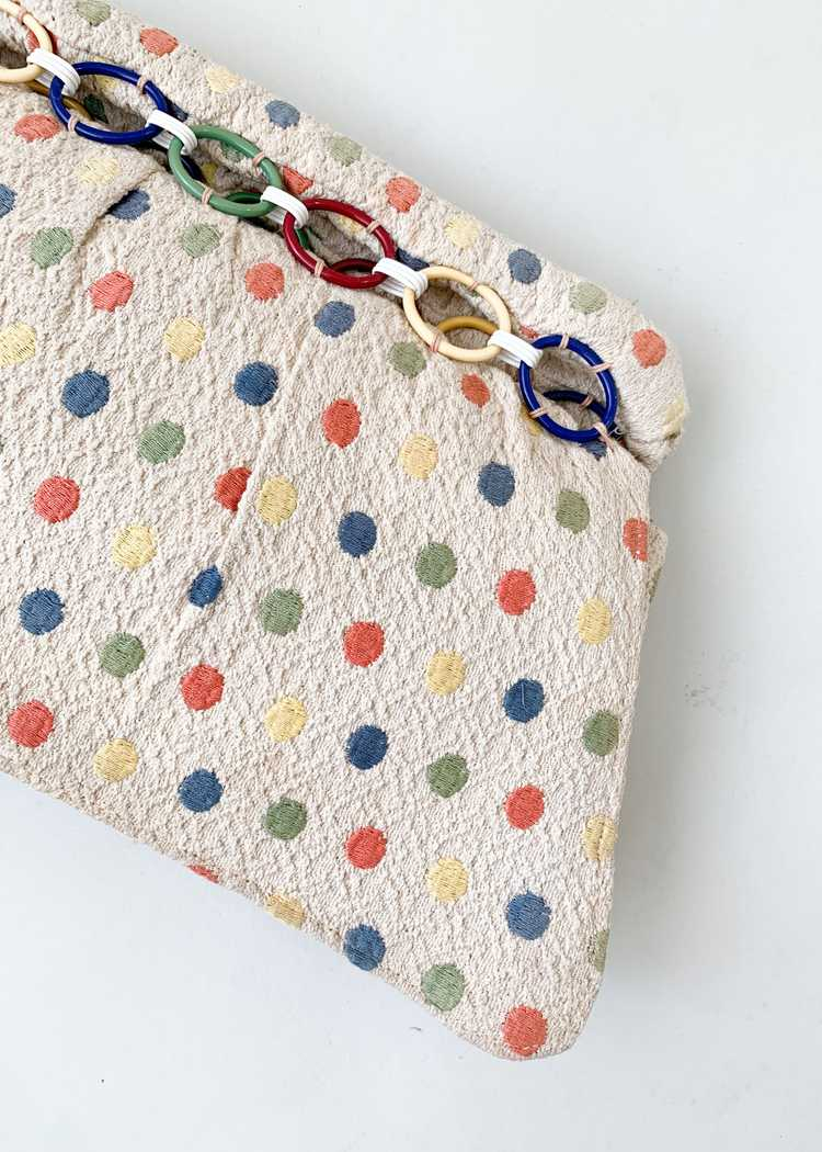 Vintage 1940s Fabric Clutch with Celluloid Rings - image 2