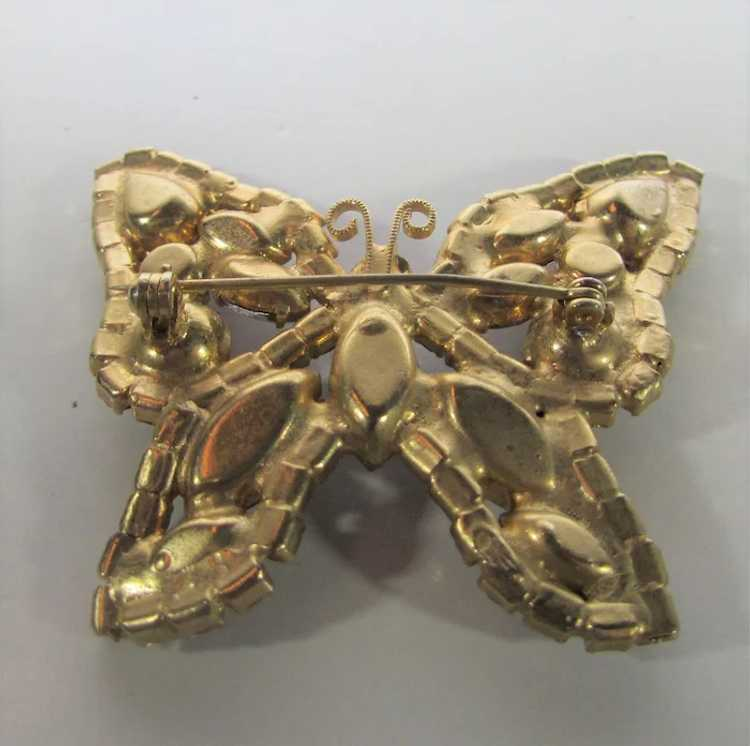 Vintage Dusty Rose Crystal Butterfly - image 6