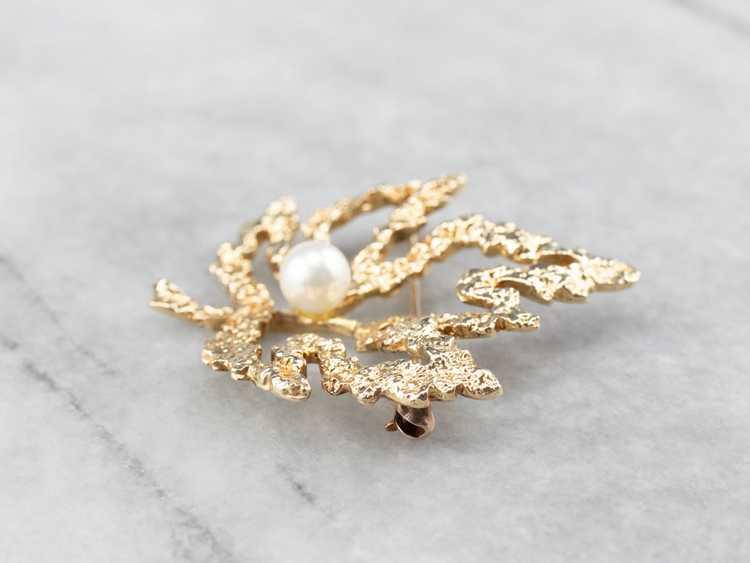 Vintage Gold and Pearl Maple Leaf Brooch - image 4