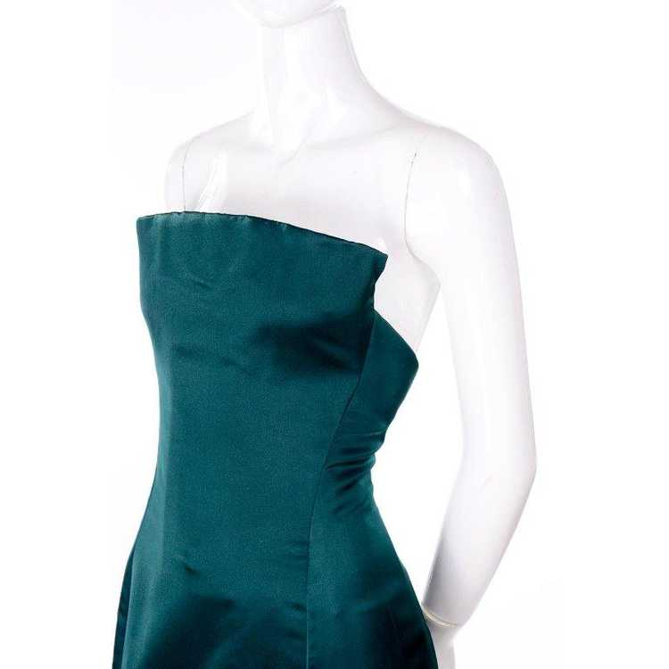 Arnold Scaasi Strapless Green Evening Gown W/ Vel… - image 7
