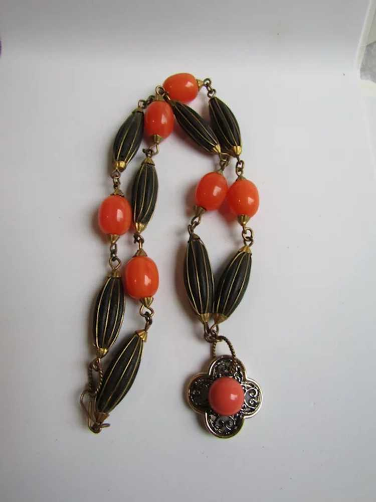 Amethyst Vintage Artisan Statement Collarette Necklace of Dyed Orange Coral Peridot Chips and Other Semiprecious Accents