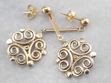 Yellow Gold Filigree Drop Earrings