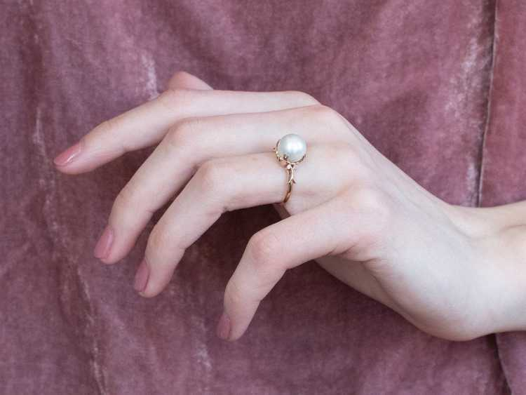 Pearl Rose Gold Solitaire Ring - image 10