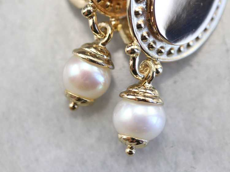 Vintage Yellow Gold and Pearl Drop Earrings - image 5