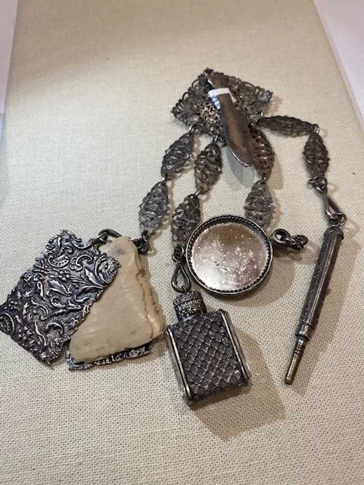 Egyptian revival Silver chatelaine - image 4