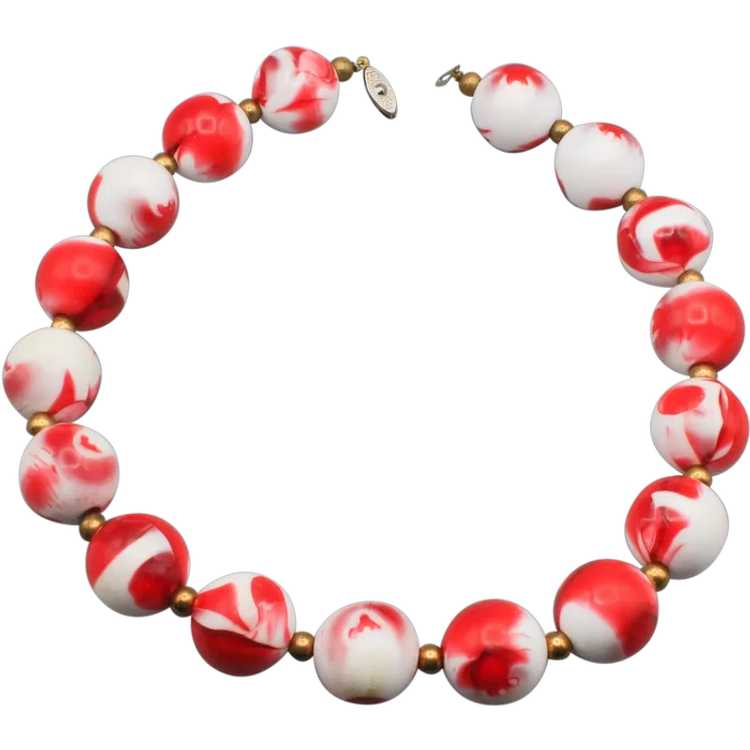 Strawberries and Cream Beaded Necklace - image 1