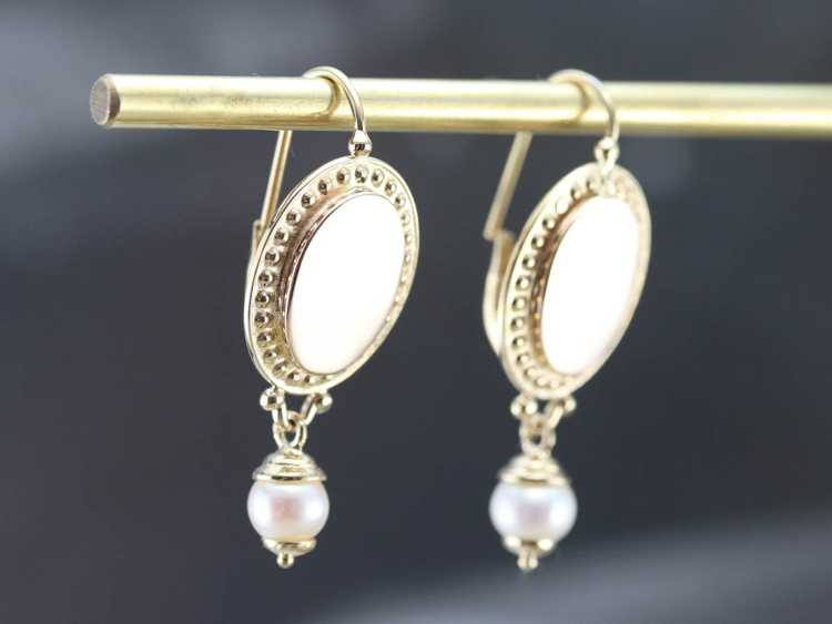 Vintage Yellow Gold and Pearl Drop Earrings - image 8