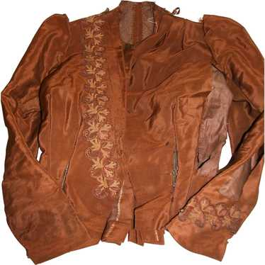 Antique  Ladies Jacket or Top   Rich Brown with Tr