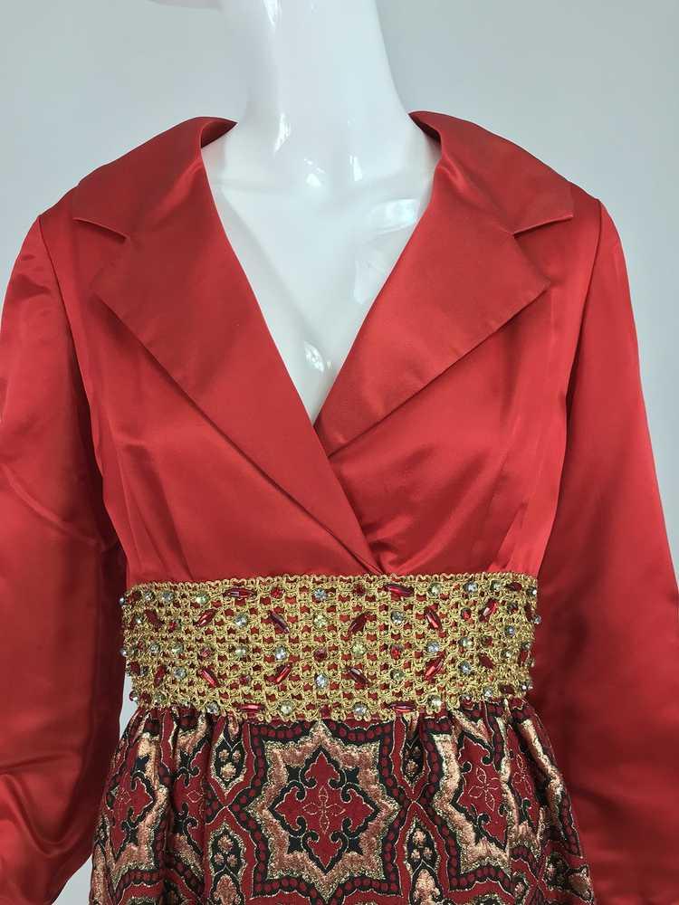Vintage Ceil Chapman Red Satin and Metallic Broca… - image 12