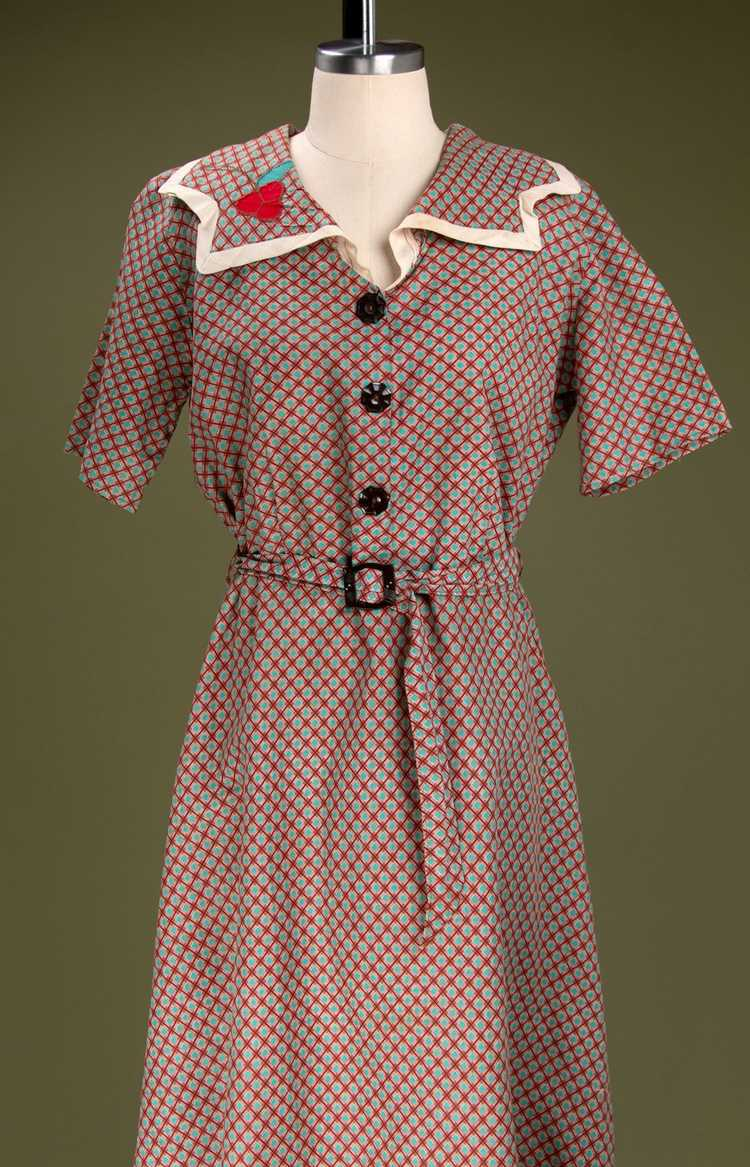 Vintage 1930's - Early 1940's Cotton Dress - image 3