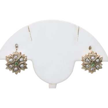 Russian 14KT Gold White And Green Stone Earrings