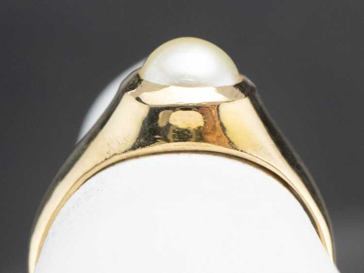 Bezel Set Pearl Gold Solitaire Ring - image 8