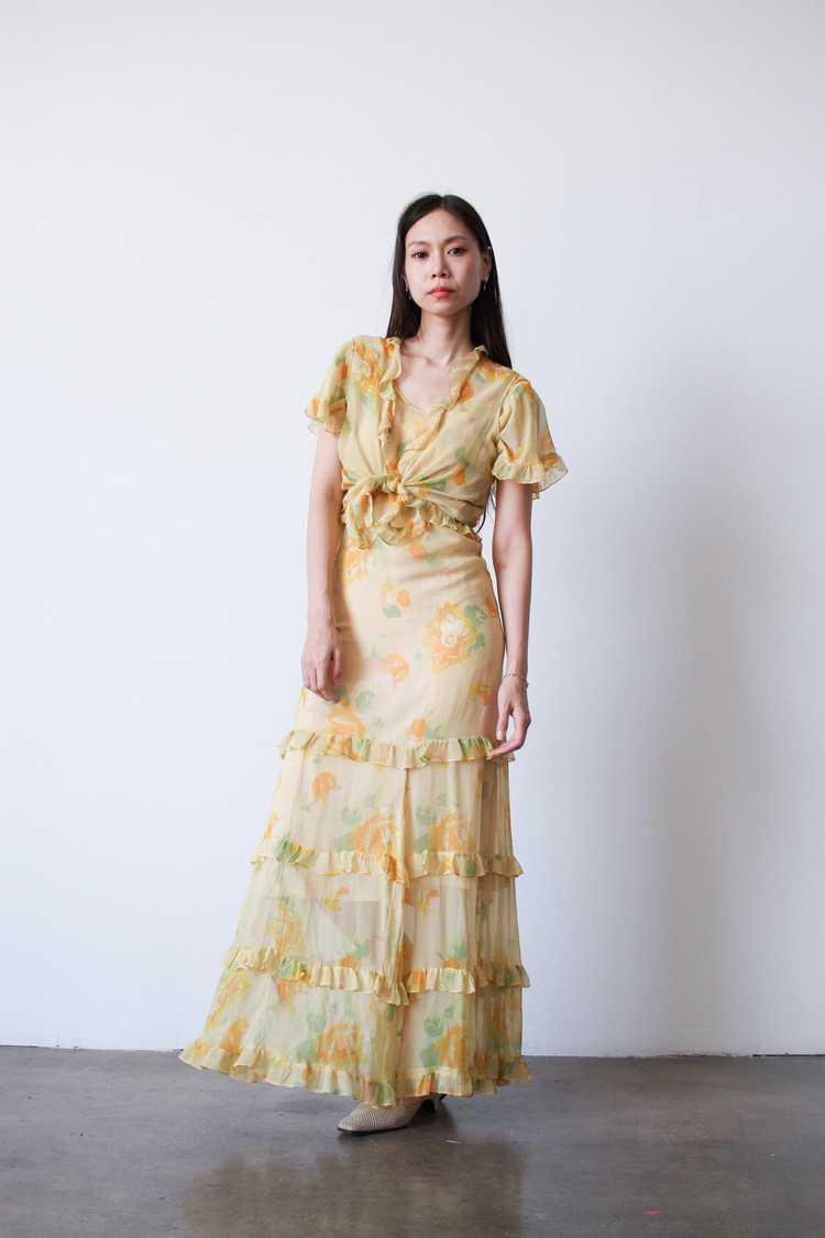 1930s Chiffon Silk Yellow Floral Dress w/ Bolero - image 8