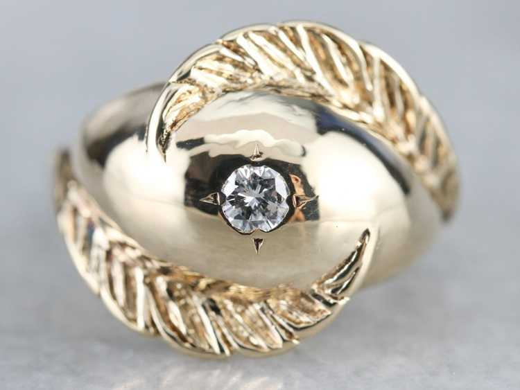 Diamond Solitaire Gold Feather Ring - image 1